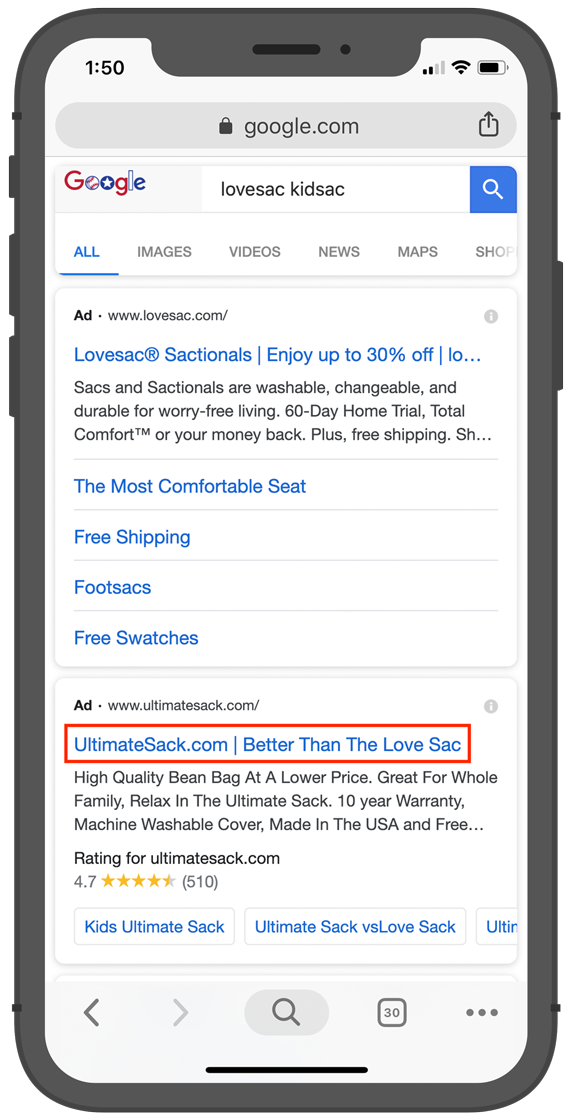 """On this mobile SERP, Ultimate Sack is breaking Google's trademark rules by using the trademarked term """"Love Sac"""" in their ad title."""