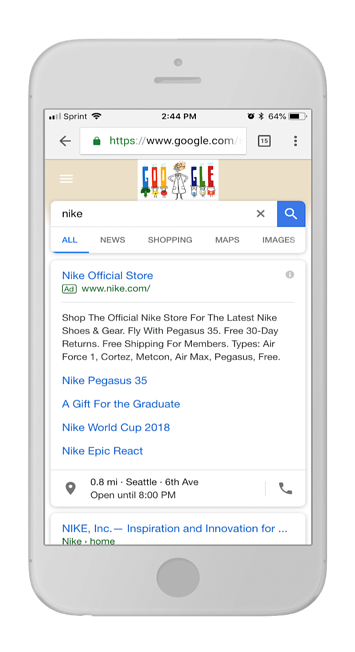 """Mobile SERP for the query using """"nike"""""""