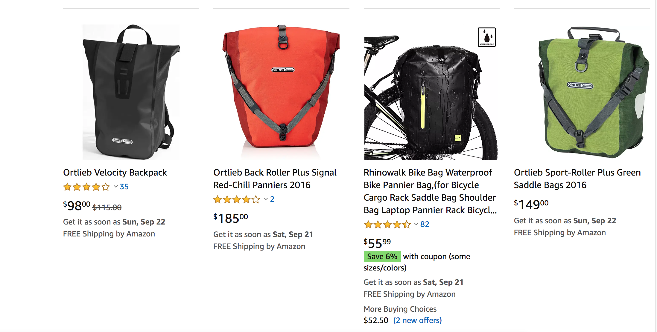 Amazon results are showing Ortlieb bags alongside the bags of competitors.