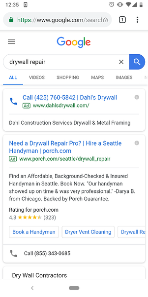 Example of a call-only ad.