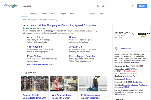 """Here is an example of the Search Engine Results Page for """"Amazon"""" search conducted from New York city."""