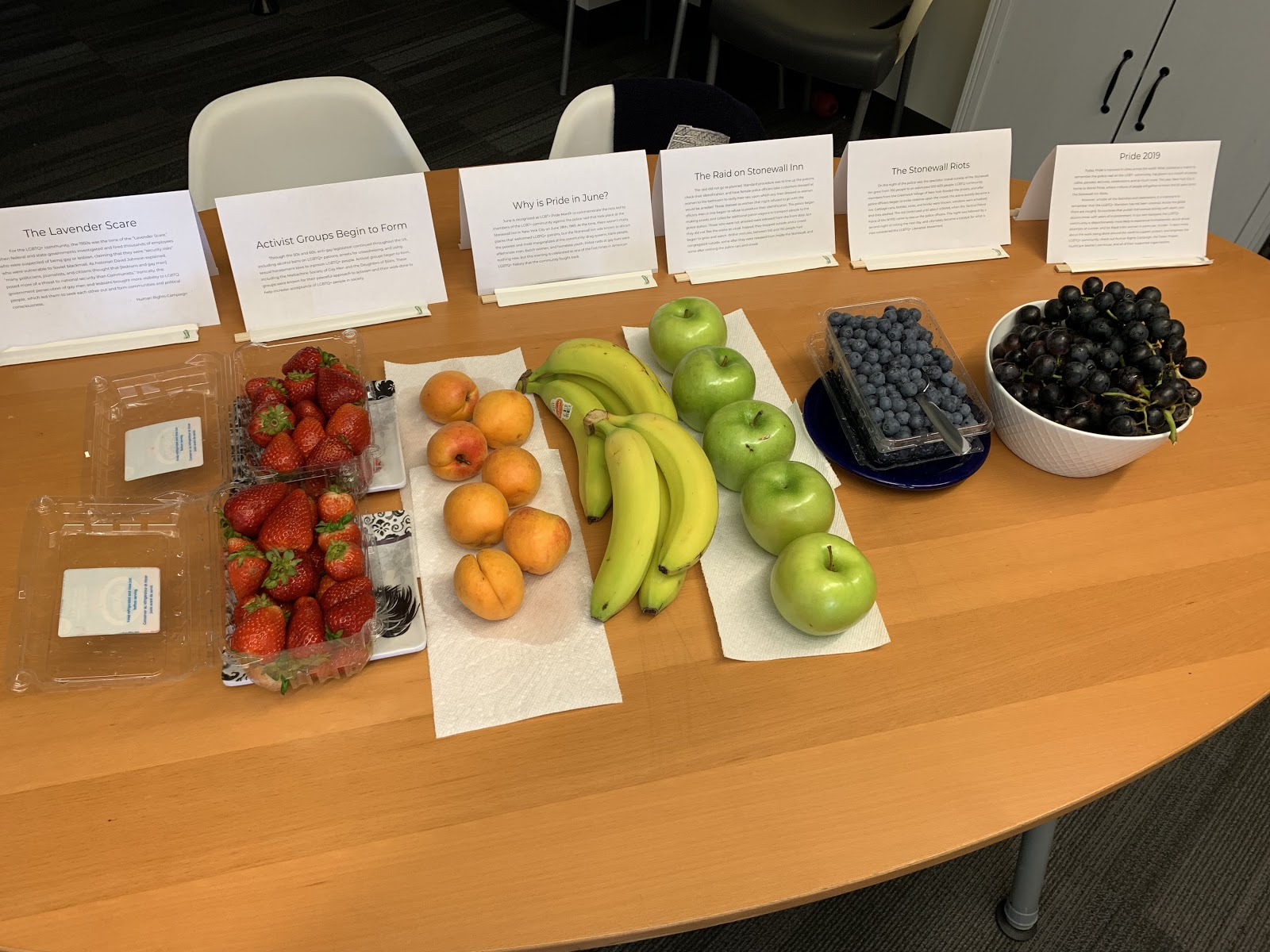 Information on the history of the LGBTQ+ movement with fruit in our break room.
